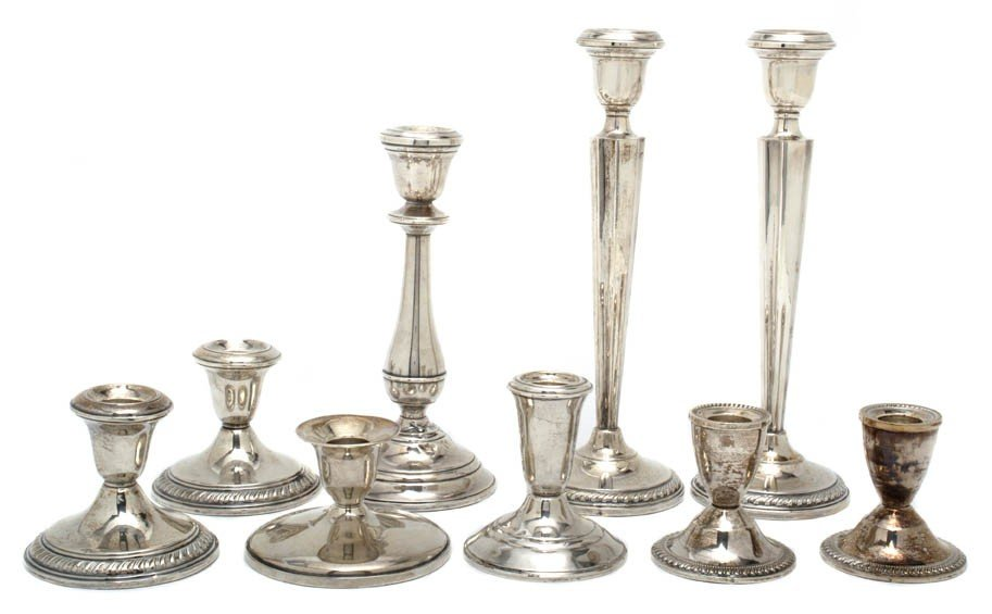 17: Nine American Sterling Silver Candlesticks, Height