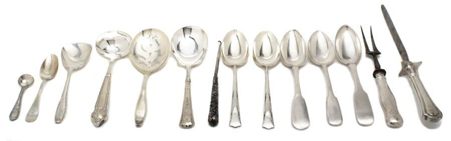 20: A Group of Sterling Silver and Silverplate Serving