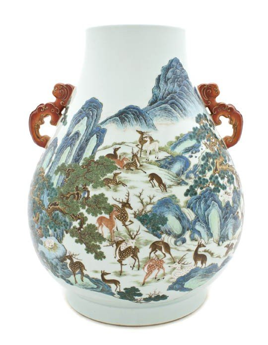 301: A Chinese Porcelain 'One Hundred Deer' Vase, Heigh