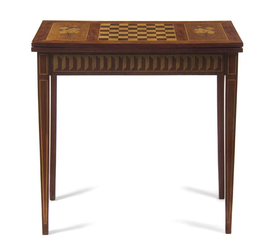 1: A Continental Marquetry Flip-Top Games Table, Height
