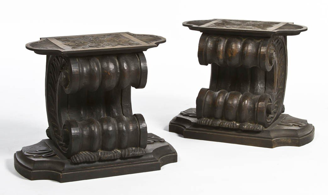 2: A Pair of Carved Wood Pedestal Tables, Height 17 inc