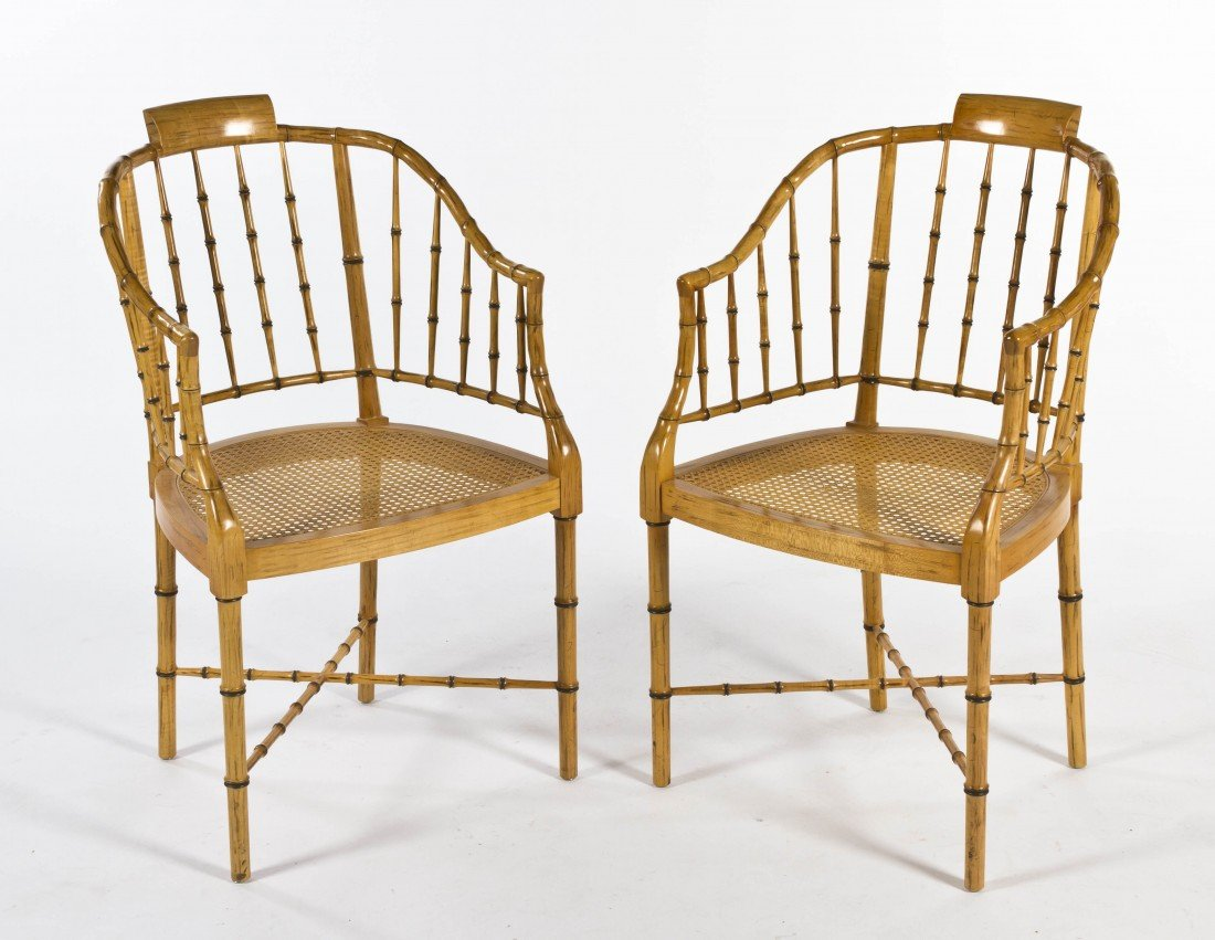3: A Pair of American Faux Bamboo Armchairs, Baker, Hei