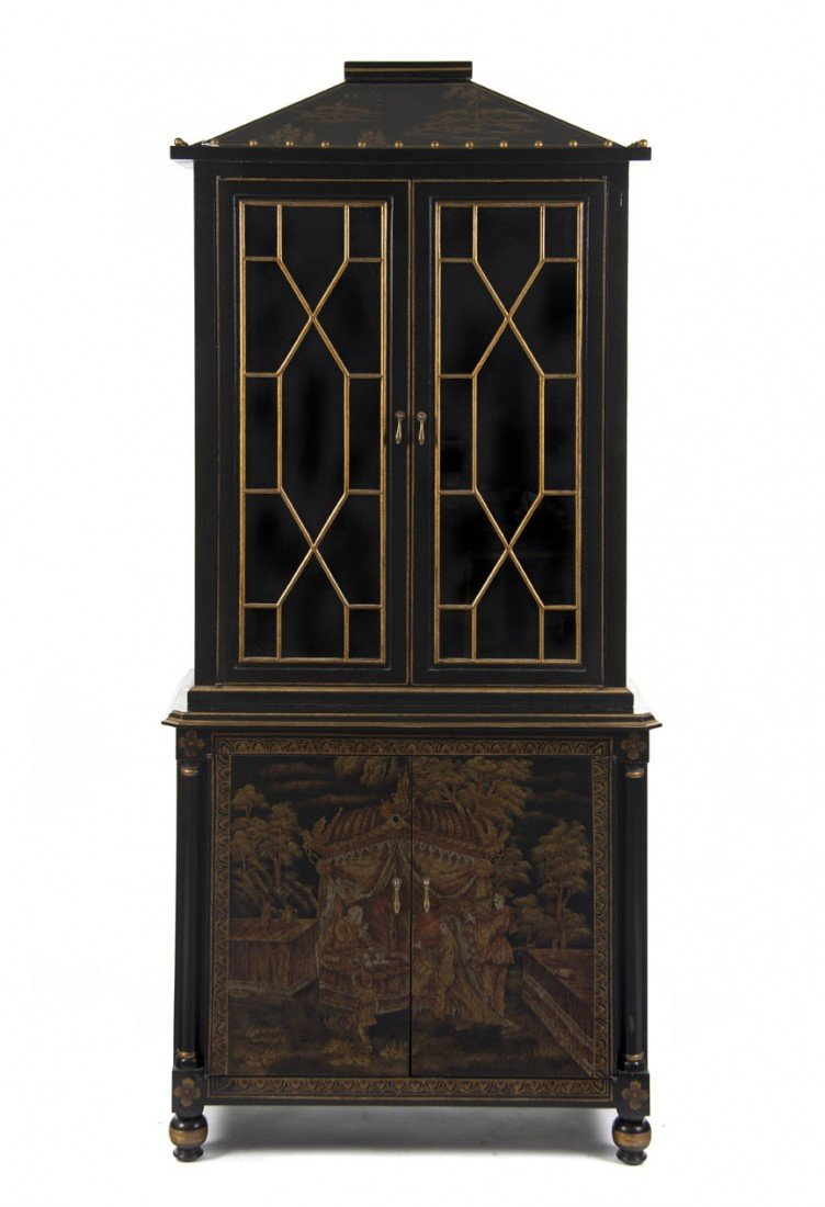 5: A Continental Gilt and Lacquered Display Cabinet, He
