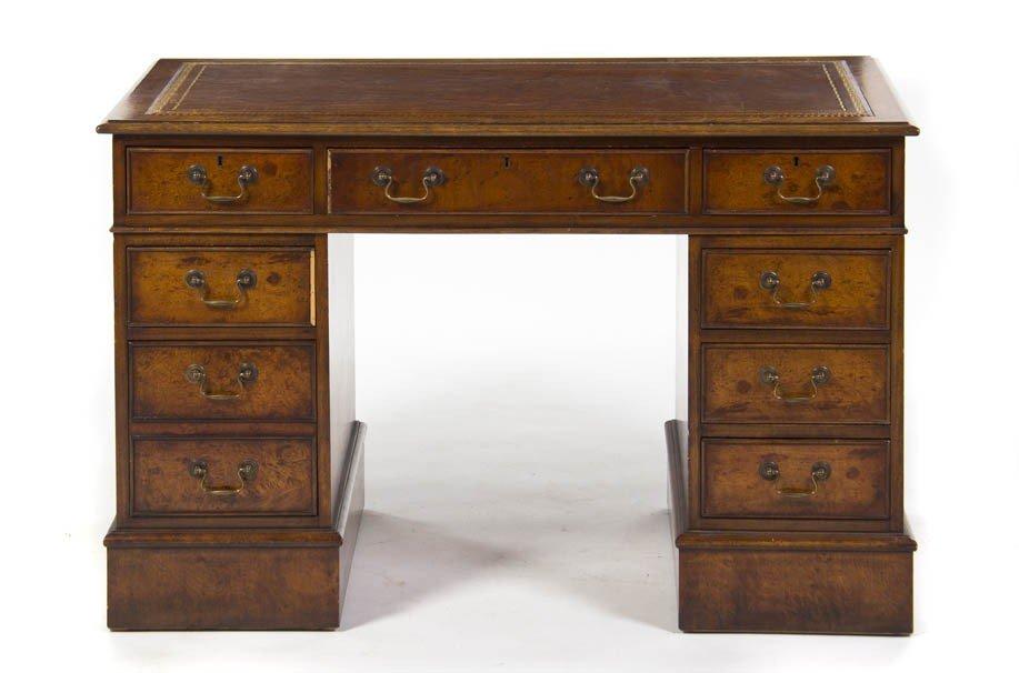 9: A Georgian Style Pedestal Desk, Height 31 x width 47
