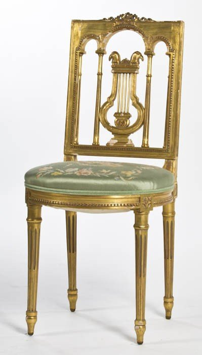 13: A Neoclassical Giltwood Side Chair, Height 35 1/2 i