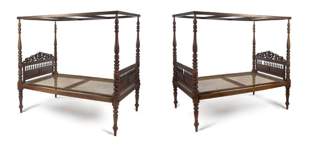 14: A Pair of American Cherry Carved Wood Canopy Beds,