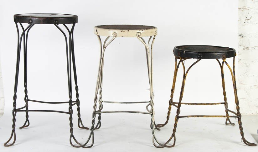 22: A Group of Three Wire Stools, Height of tallest 24