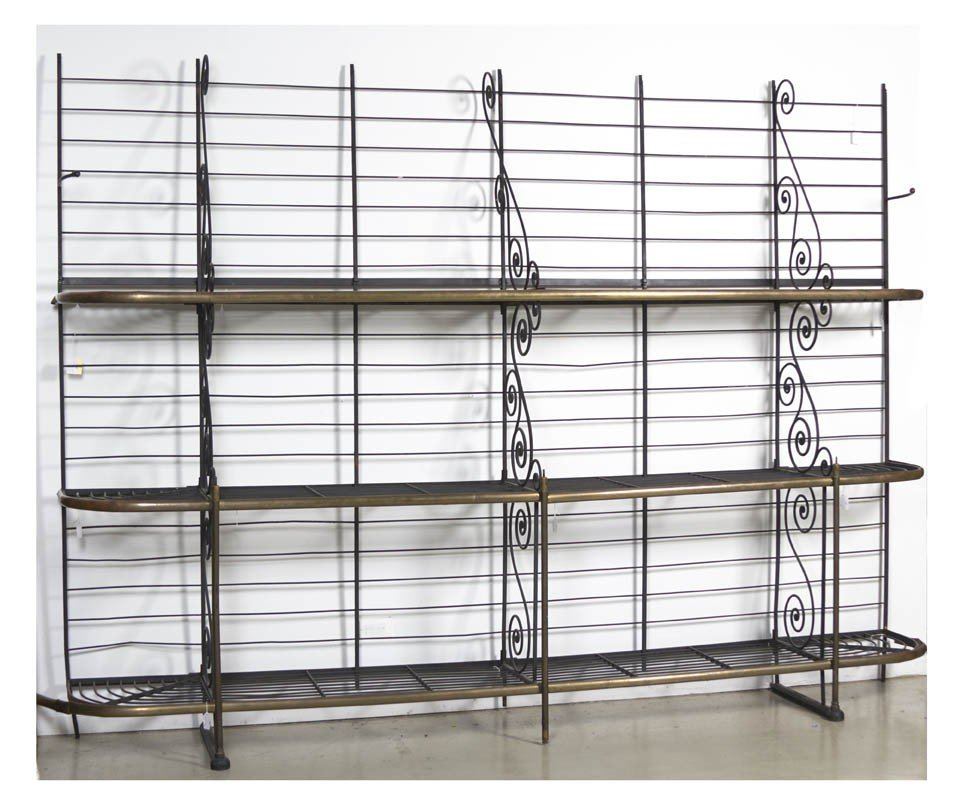 25: A Wrought Iron and Brass Baker's Rack, Height 76 x