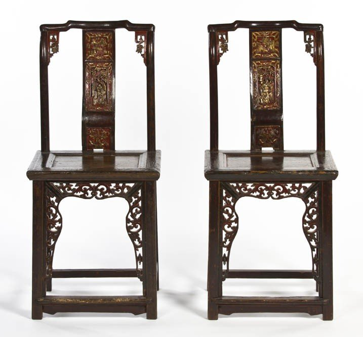 351: A Pair of Chinese Yoke Back Side Chairs, Height 41