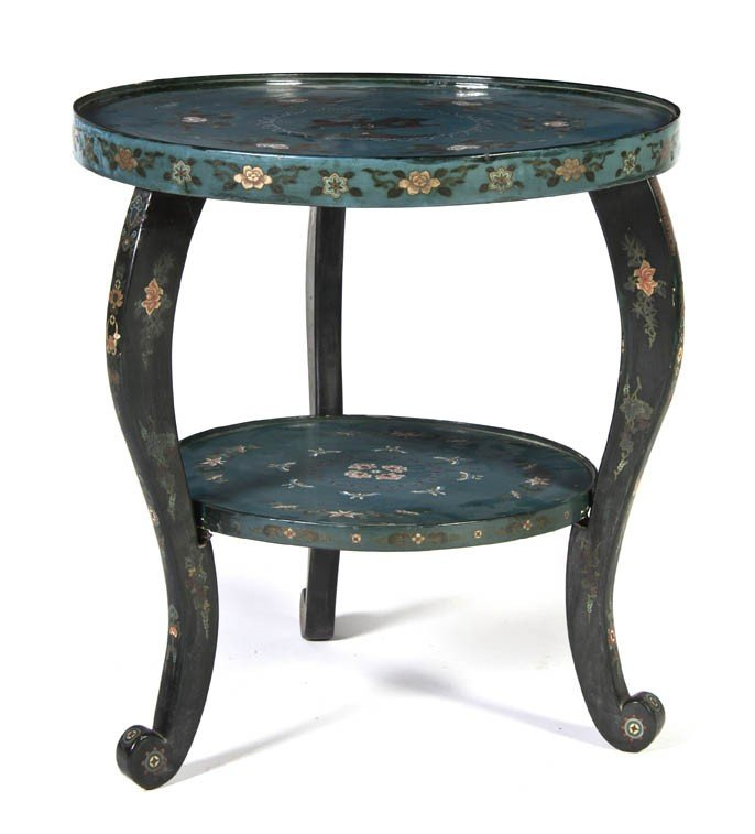 355: A Chinese Painted Center Table, Height 27 x diamet