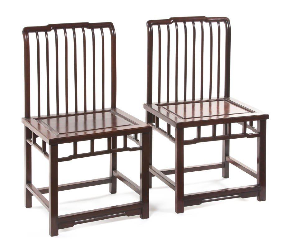 356: A Pair of Chinese Hardwood Side Chairs, Height 36