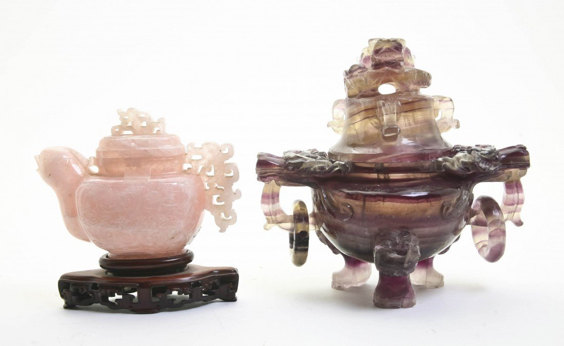 371: Two Rose Quartz and Amethyst Decorative Articles,