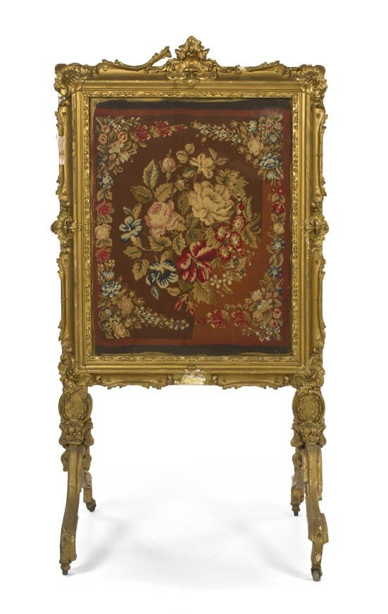 2: A Louis XV Style Giltwood Firescreen, Height 48 x wi