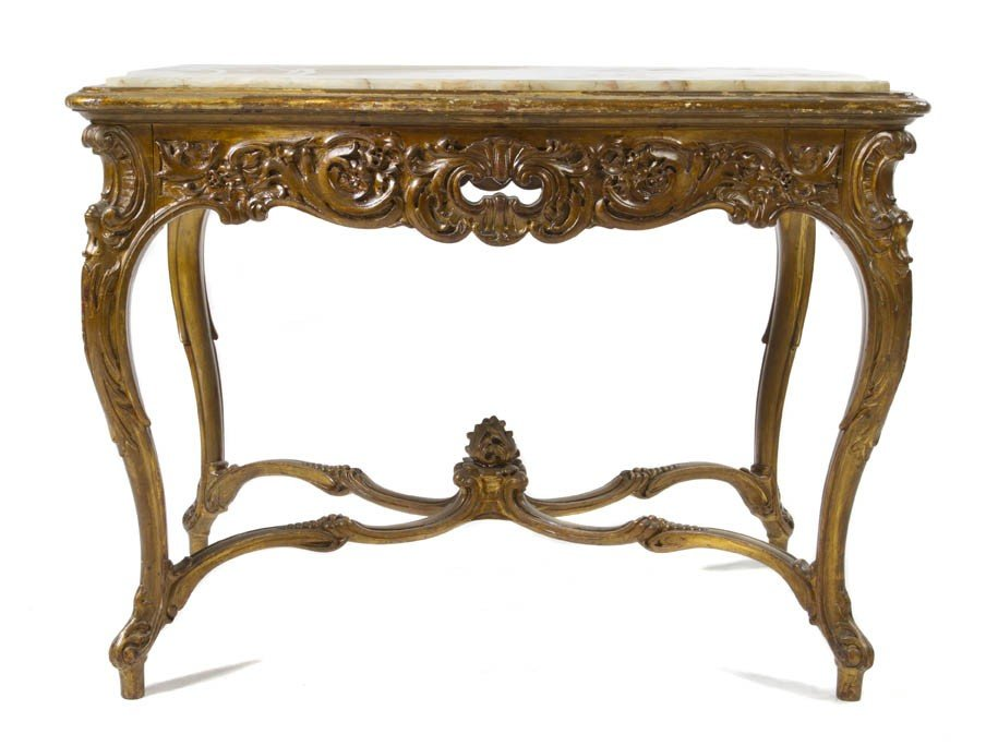 3: A Louis XV Style Giltwood Center Table, Height 27 x