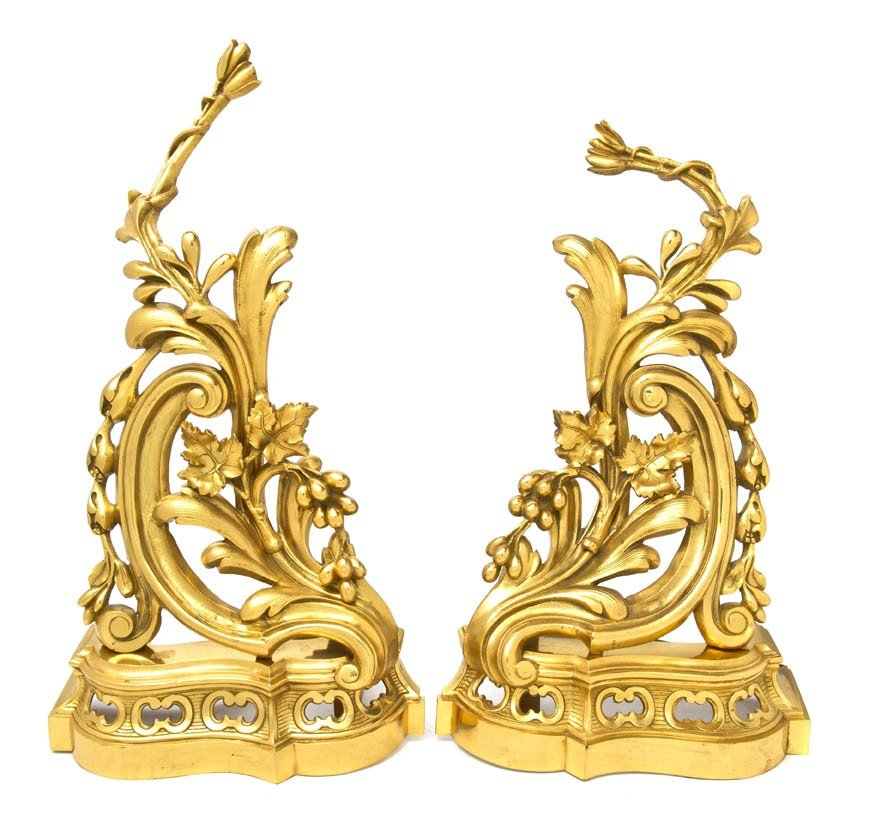 7: A Pair of Louis XV Style Gilt Bronze Chenets, Height