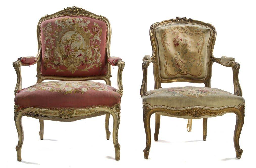 11: An Associated Pair of Louis XV Giltwood Fauteuils,
