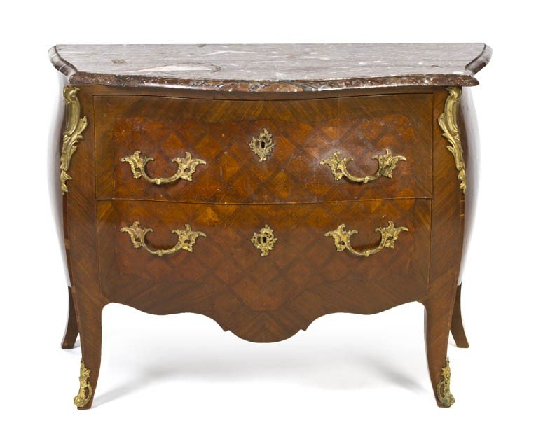 12: A Louis XV Style Gilt Bronze and Parquetry Commode,