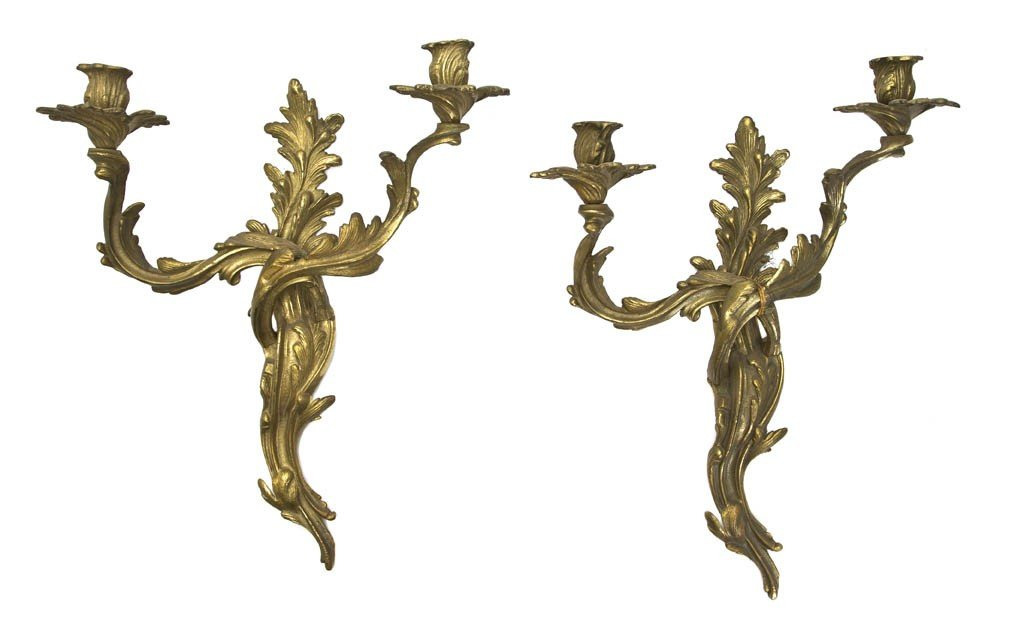 13: A Pair of Louis XV Style Gilt Bronze Two-Light Scon