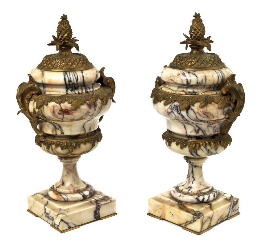 15: A Pair of Ormolu Mounted Marble Covered Urns, Heigh
