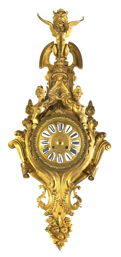 17: A Louis XV Style Gilt Bronze Cartel Clock, Nercery,