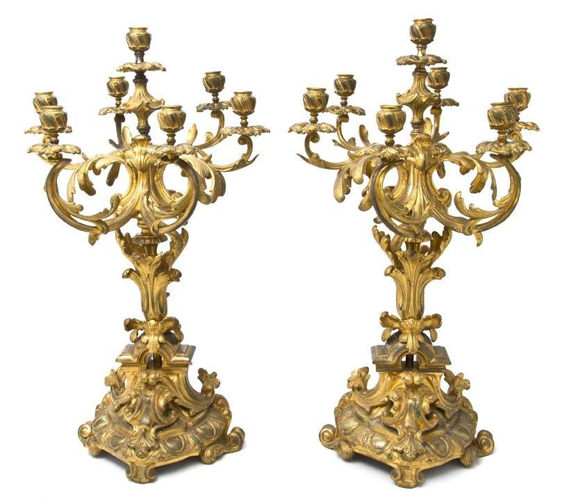 55: A Pair of Louis XV Gilt Bronze Seven-Light Candelab