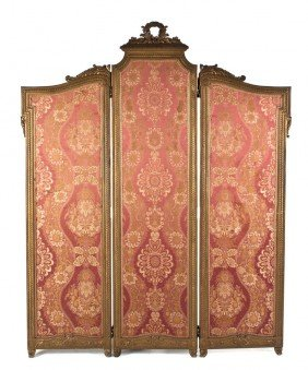 A Louis XVI Style Beechwood Three-Panel Floor Scre