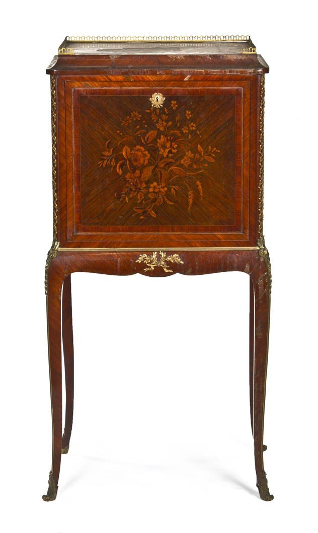 152: A Louis XVI Style Fall Front Desk, Height 48 1/4 x