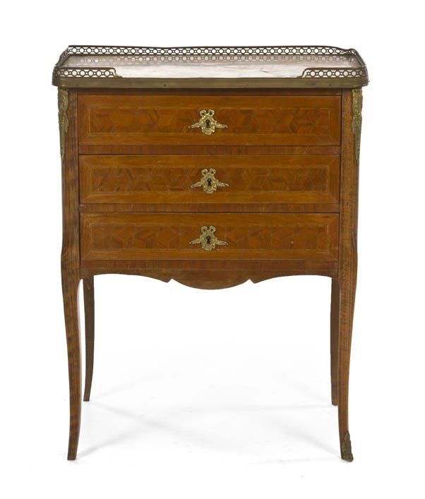 155: A Louis XVI Style Parquetry and Gilt Metal Mounted