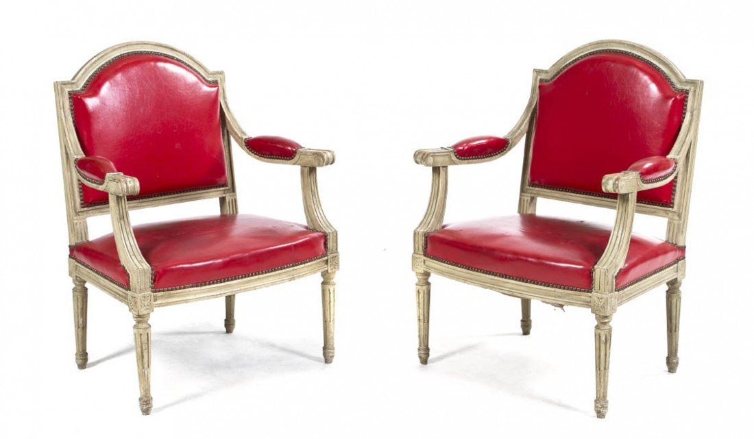 158: A Pair of Louis XVI Style Painted Fauteuils, Heigh