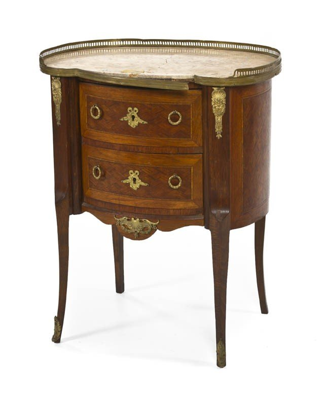 163: A Louis XVI Style Parquetry and Gilt Metal Mounted