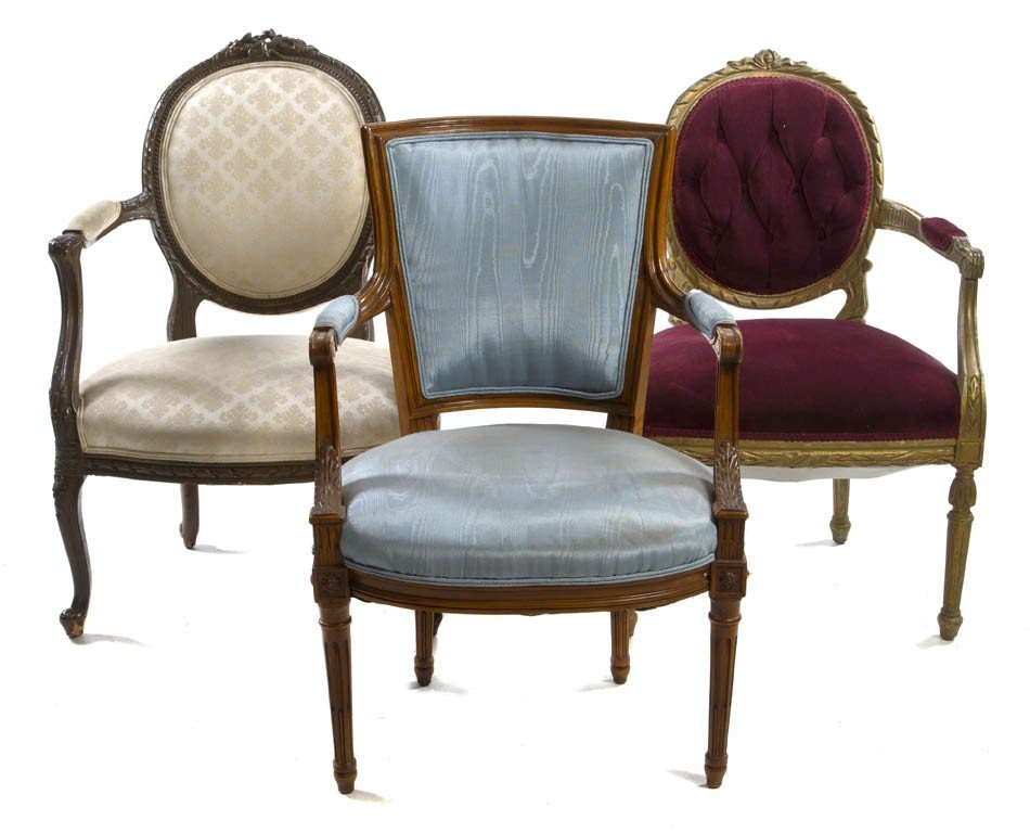 170: A Set of Three Associated Louis XVI Style Fauteuil