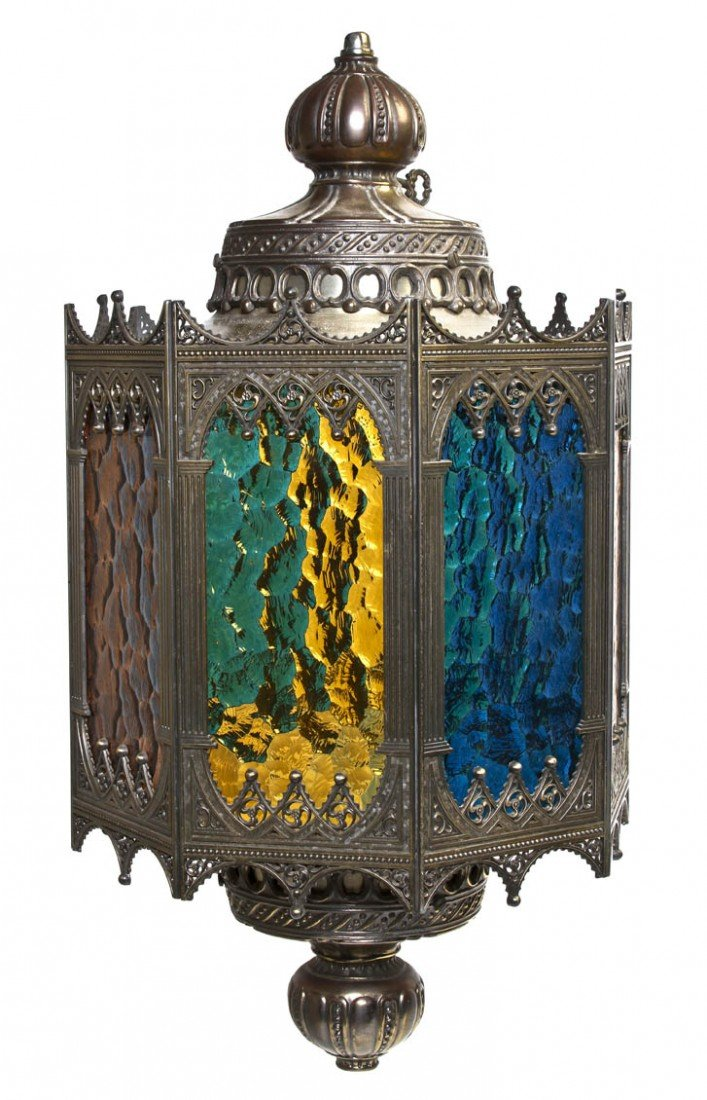 518: A Gothic Revival Brass and Glass Lantern, Height 2