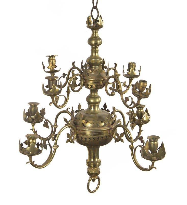 519: A Gothic Revival Eight-Light Brass Chandelier, Hei