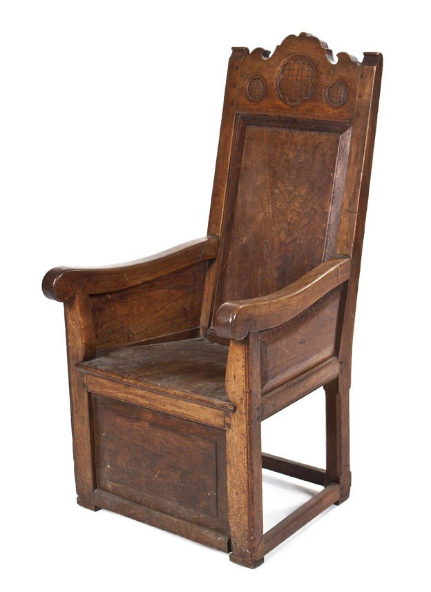 520: A Jacobean Revival Armchair, Height 47 inches.