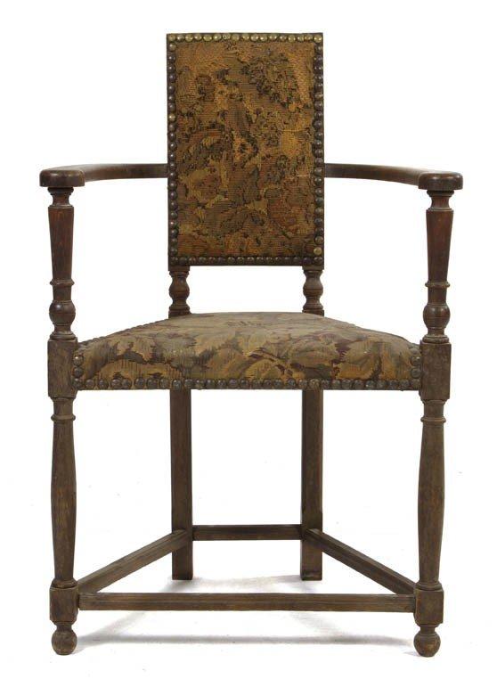 521: A Jacobean Revival Open Armchair, Height 35 1/2 in