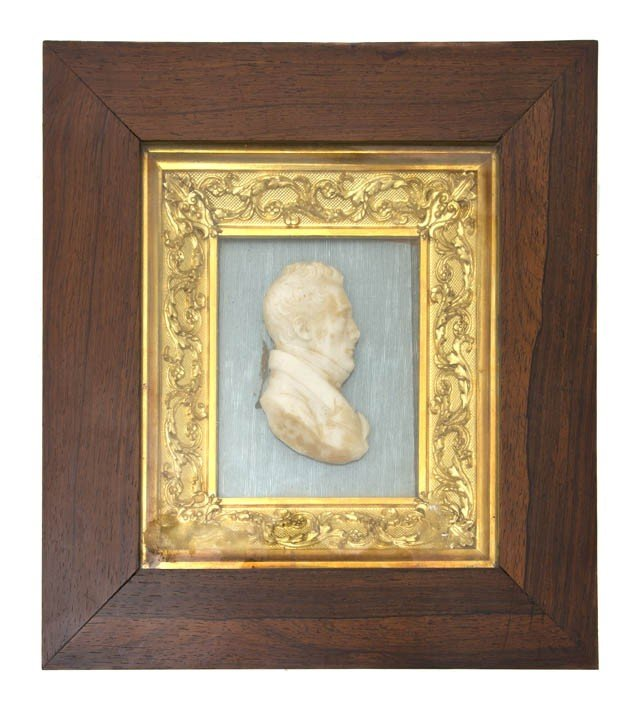 528: An English Framed Wax Bust, Height overall 10 3/4