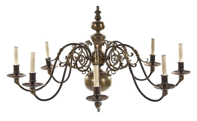 529: A Pair of Dutch Baroque Style Brass Eight-Light Ch
