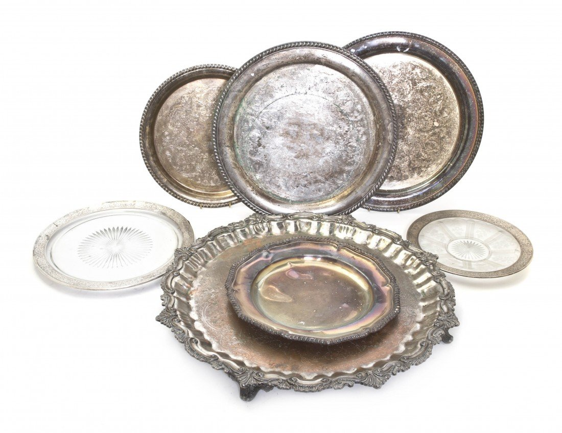 679: A Collection of Five Silverplate Trays, Diameter o