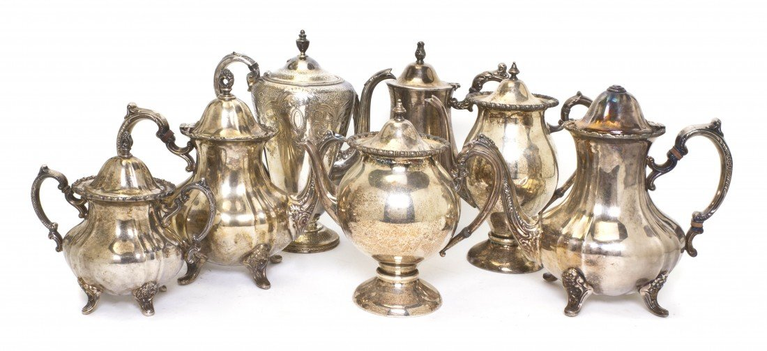 681: A Collection of Seven Silverplate Coffee and Teapo