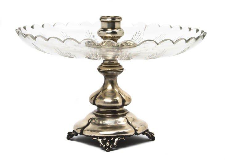 687: A Continental Silver and Cut Glass Center Bowl, Di