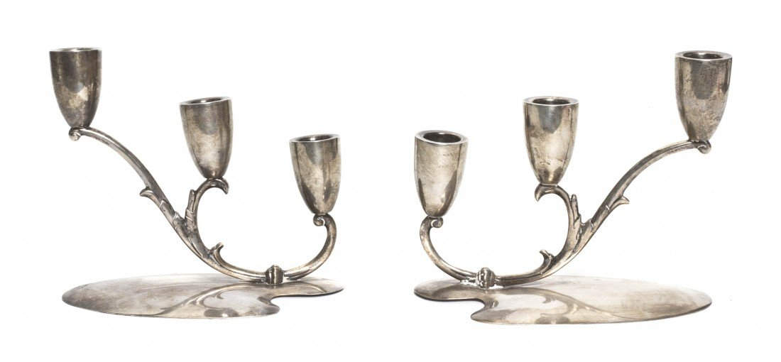 691: A Pair of Mexican Sterling Silver Three-Light Cand