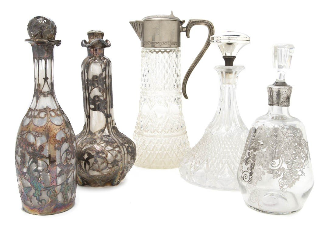 692: Three Silver Overlay Decanters, Height of tallest