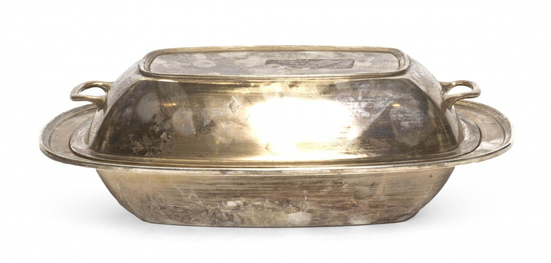 695: An American Sterling Silver Covered Entree, Black,