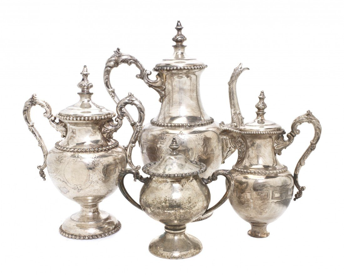 700: An American Silverplate Coffee Set, Meridien, Heig