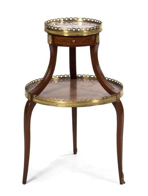 1072: A Louis XVI Style Gilt Metal Mounted Two-Tiered S