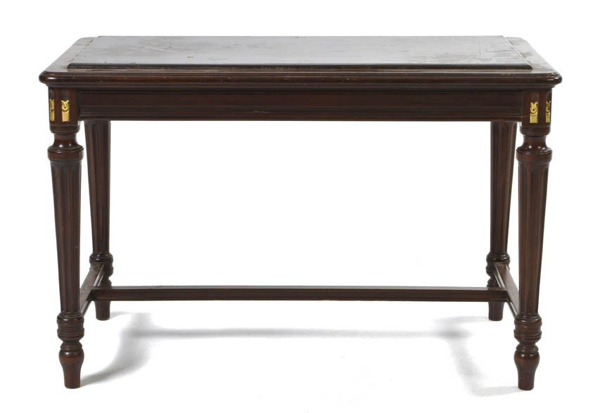 1079: A Louis XVI Style Bench, Height 18 x width 28 x d
