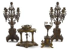 1466 A Pair of Continental Bronze FiveLight Candelabr