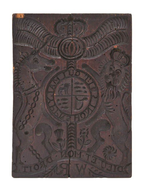 2: An English Carved Wood Printing Block, Height 8 1/4