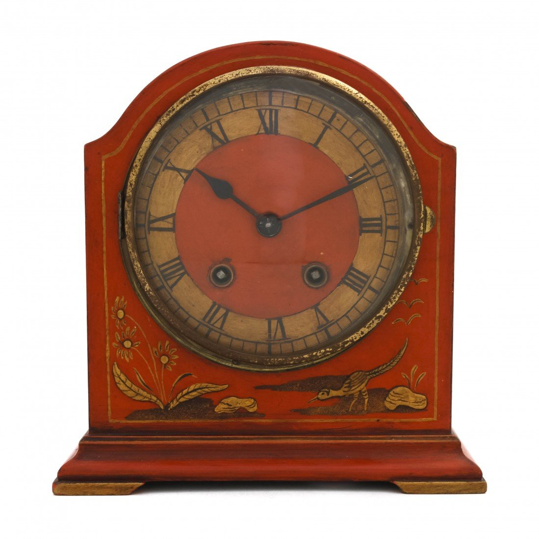 5: An English Lacquered Mantel Clock, Height 9 1/2 inch