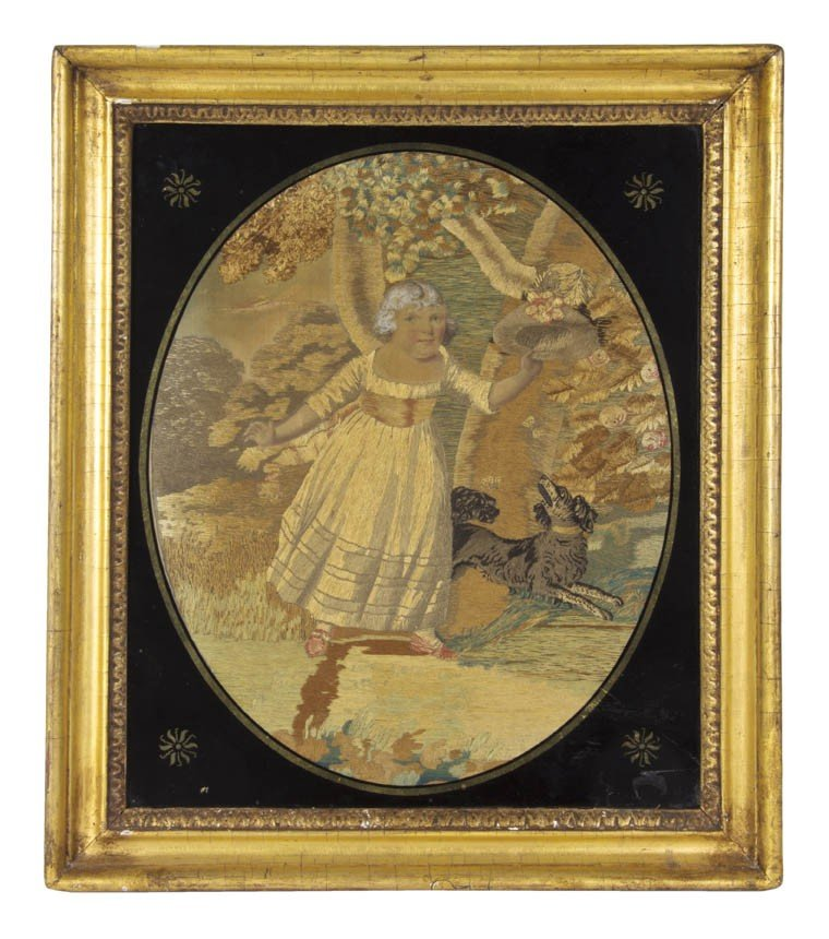 13: An English Needlework Picture, Height overall 19 1/